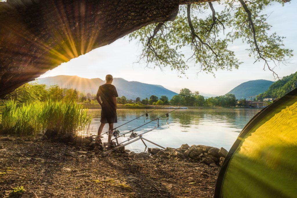 Fisherman in backlight