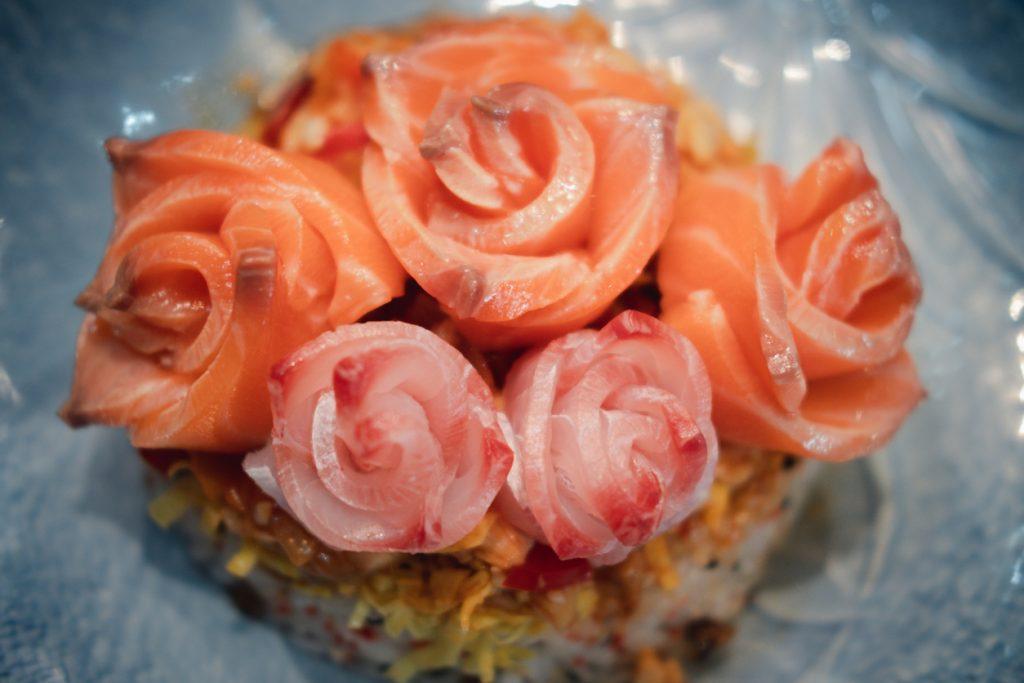 Fresh salmon sashimi in rose shape