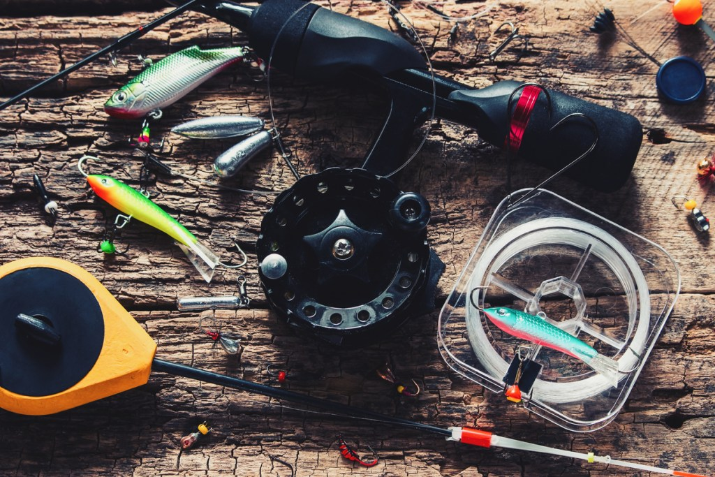 Winter fishing rods and lures for fishing