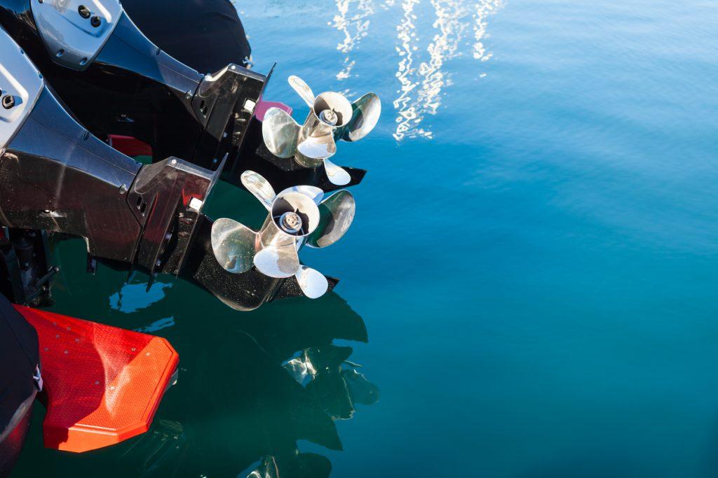 motor boat screws on sea water